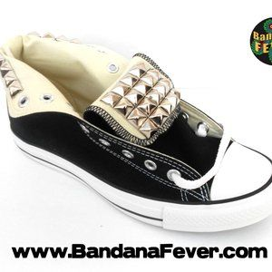 Converse Custom Womens Silver Stud Hi Top Black Sh